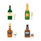 Alcohol drinks beverages cocktail whiskey drink bottle lager refreshment container and menu drunk concept different Royalty Free Stock Photography