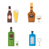 Alcohol drinks beverages cocktail whiskey drink bottle lager refreshment container and menu drunk concept different Stock Photo