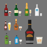 Alcohol drinks beverages cocktail whiskey drink bottle lager refreshment container and menu drunk concept different Stock Photography