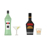 Alcohol drinks beverages cocktail whiskey drink bottle lager refreshment container and menu drunk concept different Stock Photos