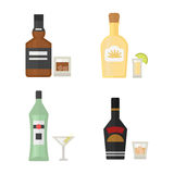 Alcohol drinks beverages cocktail whiskey drink bottle lager refreshment container and menu drunk concept different Stock Images