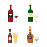 Alcohol drinks beverages cocktail whiskey drink bottle lager refreshment container and menu drunk concept different Royalty Free Stock Images
