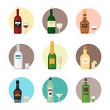 Alcohol drinks beverages cocktail whiskey drink bottle lager refreshment container and menu drunk concept different Royalty Free Stock Image