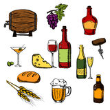Alcohol drinks, beverages and food Stock Photo