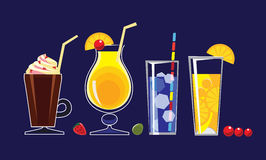 Alcohol drinks beverages in glasses of cocktails, juice,on dark background. Vector set of drinks illustrations Royalty Free Stock Images