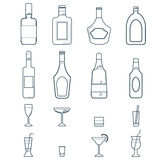 Alcohol Drinks and Beverages Icon Set. Alcohol flat Icons Set with Bottles and Cocktail Glasses Isolated Vector Illustration Stock Photography