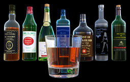 Alcohol, Drinks, Booze Bottles, Isolated. Illustration of alcohol and adult beverages. Bottles of booze and a drink make up the scene. Isolated on black Stock Photography