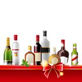 Alcohol drinks. Border over white background - vector Stock Images