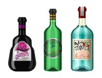 Alcohol drinks in a bottle with different vintage labels. Realistic Absent Liqueur Tequila. Vector illustration for the stock illustration