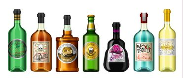 Alcohol drinks in a bottle with different vintage labels. Realistic Absent Liqueur Tequila Wine Whiskey Beer Rum. Vector. Illustration for the menu. logo vector illustration