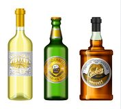 Alcohol drinks in a bottle with different vintage labels. Realistic Wine Whiskey Beer. Vector illustration for the menu royalty free illustration