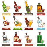 Alcohol drinks bottles and cocktails glasses vector flat icons Royalty Free Stock Photography