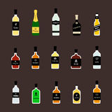 Alcohol drinks bottles flat icons set. Vector Royalty Free Stock Photo