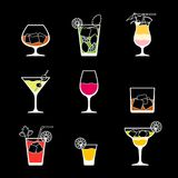 Alcohol drinks and cocktails icon set in flat Royalty Free Stock Image