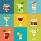 Alcohol drinks and cocktails icon set in flat Stock Photo
