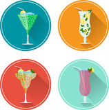 Alcohol drinks and cocktails icon set. Vector illustration set Stock Photo