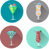 Alcohol drinks and cocktails icon set. Vector illustration set Stock Photos