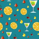 Alcohol drinks and cocktails seamless pattern in flat style. vector illustration
