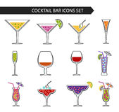 Alcohol drinks and cocktails. Vector stylish colorful thin line icons set of alcohol drinks and cocktails. Isolated on white background Royalty Free Stock Photography
