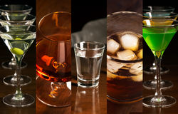 Alcohol drinks. Collage of photos of different alcohol drinks (dark background stock photography