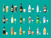 Alcohol drinks collection. Bottles with glasses. Vodka champagne wine whiskey beer brandy tequila cognac liquor vermouth gin rum absinthe sambuca cider bourbon Stock Images
