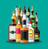 Alcohol drinks collection. Bottles with vodka champagne wine whiskey beer brandy tequila cognac liquor vermouth gin rum absinthe sambuca cider bourbon. Vector Royalty Free Stock Photo