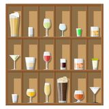 Alcohol drinks collection in glasses. Alcohol drinks collection in glasses on shelves. Vodka champagne wine whiskey beer brandy tequila cognac liquor vermouth royalty free illustration