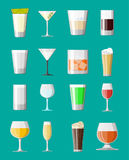 Alcohol drinks collection in glasses. Vodka champagne wine whiskey beer brandy tequila cognac liquor vermouth gin rum absinthe sambuca cider bourbon. Vector Stock Photos