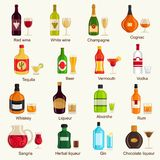 Alcohol drinks collection. Vector Illustration Stock Images