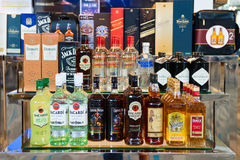 Alcohol drinks in duty free shop in airport Royalty Free Stock Photography