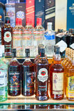 Alcohol drinks in duty free shop in airport Stock Photo