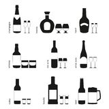 Alcohol drinks glasses and bottles icons Royalty Free Stock Photo