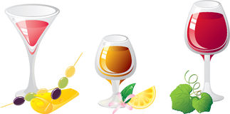 Alcohol drinks icon set. Alcohol drinks set. With cheese, citrus and olives. Glasses are decorated by leaf wine.  Without a transparency Royalty Free Stock Images