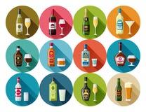 Alcohol drinks icon set. Bottles, glasses for restaurants and bars.  Stock Image
