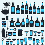 Alcohol drinks icon set flat style,vector eps10 illustration.  Royalty Free Stock Images