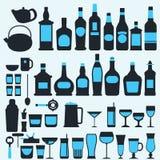 Alcohol drinks icon set flat style,vector eps10 illustration.  Stock Illustration