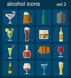Alcohol drinks icons. 16 flat icons set Stock Photo