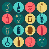 Alcohol drinks icons. 16 flat icons set Stock Images