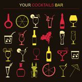 Alcohol drinks icons. 16 flat icons set Royalty Free Stock Photography