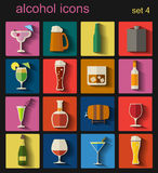 Alcohol drinks icons. 16 flat icons set Stock Image