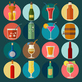 Alcohol drinks icons. 16 flat icons set Royalty Free Stock Image