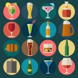 Alcohol drinks icons. 16 flat icons set Stock Image