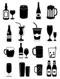 Alcohol drinks icons set Stock Photography