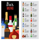 Alcohol drinks menu template. For bar and restaurant with bottles, description and prices. Vector illustration Royalty Free Stock Image