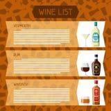 Alcohol drinks menu or wine list. Bottles, glasses for restaurants and bars.  vector illustration