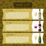 Alcohol drinks menu or wine list. Bottles, glasses for restaurants and bars.  stock illustration
