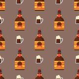Alcohol drinks seamless pattern beverages cocktail bottle drunk glasses vector illustration. Alcohol drinks seamless pattern beverages cocktail bottle lager Royalty Free Stock Images