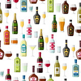 Alcohol drinks seamless pattern. Bottles, glasses for restaurants and bars Royalty Free Stock Image