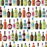 Alcohol drinks seamless pattern. Bottles for restaurants and bars.  Stock Image