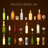 Alcohol drinks set. Alcohol drinks bottles and glass set of wine beer champagne martini isolated vector illustration Royalty Free Stock Photo